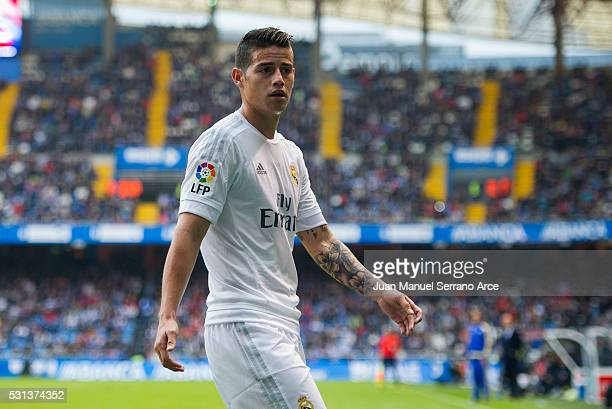 James Rodriguez of Real Madrid reacts during the La Liga match between RC Deportivo La Coruna and Real Madrid CF at Riazor Stadium on May 14 2016 in...