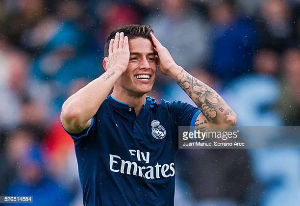 James Rodriguez of Real Madrid reacts during the La Liga match between Real Sociedad de Futbol and Real Madrid at Estadio Anoeta on April 30 2016 in...