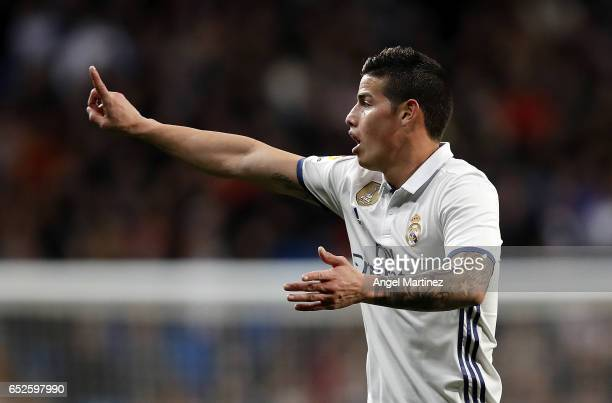 James Rodriguez of Real Madrid reacts during the La Liga match between Real Madrid and Real Betis Balompie at Estadio Santiago Bernabeu on March 12...