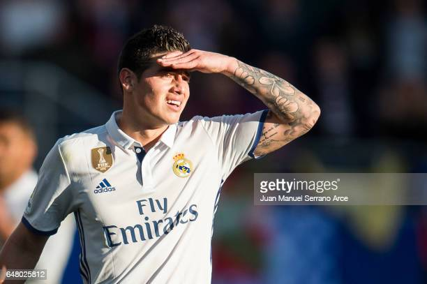 James Rodriguez of Real Madrid reacts during the La Liga match between SD Eibar and Real Madrid at Ipurua Municipal Stadium on March 4 2017 in Eibar...