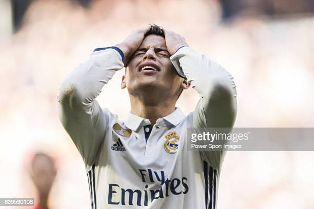 James Rodriguez of Real Madrid reacts during their La Liga match between Real Madrid and Granada CF at the Santiago Bernabeu Stadium on 07 January...