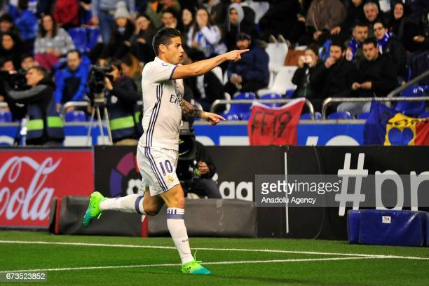 James Rodriguez of Real Madrid scores a goal during the Spanish league football match between Deportivo and Real Madrid at the Municipal de Riazor...