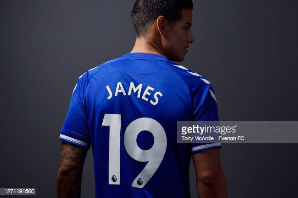James Rodriguez poses for a photograph after signing for Everton at USM Finch Farm on September 7 2020 in Halewood, England.