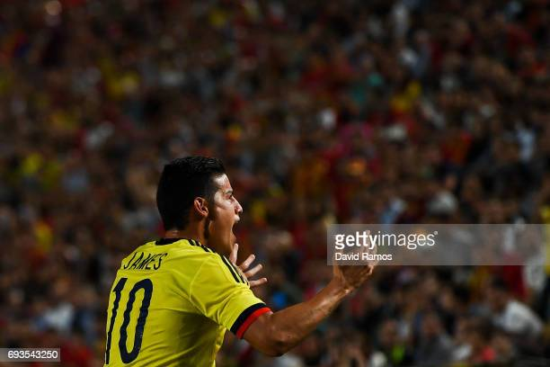 James Rodriguez reacts during a friendly match between Spain and Colombia at La Nueva Condomina stadium on June 7 2017 in Murcia Spain