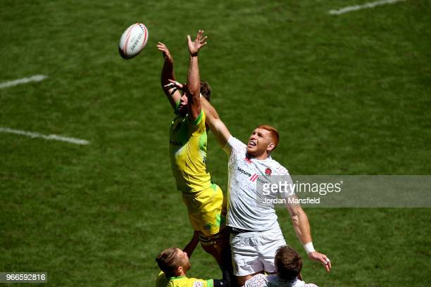 James Rodwell of England and Lachie Anderson of Australia compete for a lineout on day two of the HSBC London Sevens at Twickenham Stadium on June 3...