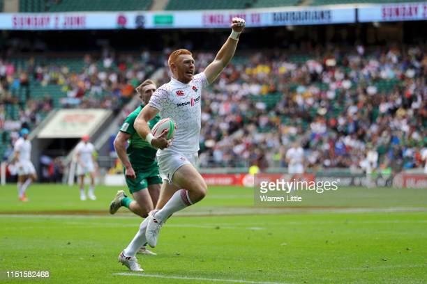 James Rodwell of England celebrates after scoring his team's third try during the match between England Ireland during the HSBC London Sevens at...