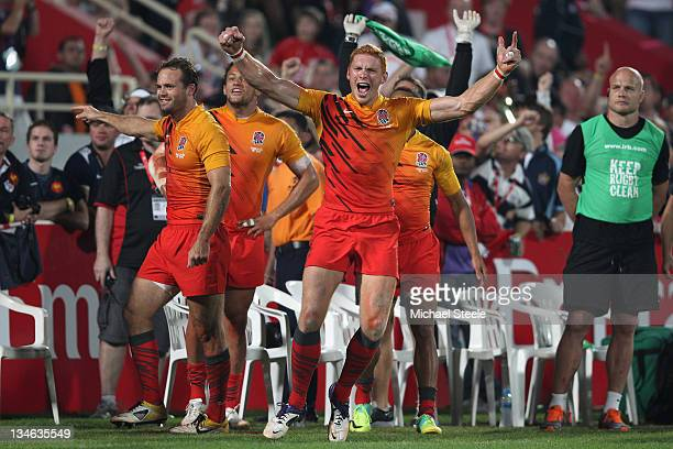 James Rodwell of England celebrates victory on the final whistle during the Final match between England and France on Day Three of the IRB Dubai...