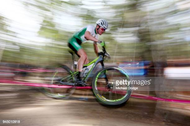 James Roe of Guernsey competes during the Men's Crosscountry on day eight of the Gold Coast 2018 Commonwealth Games at Nerang Mountain Bike Trails on...