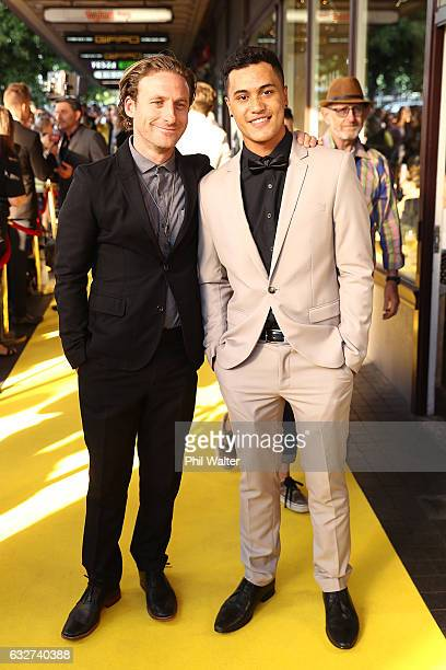 James Rolleston and Dean O'Gorman arrive ahead of the Pork Pie World Premiere at Auckland Civic Theatre on January 26 2017 in Auckland New Zealand