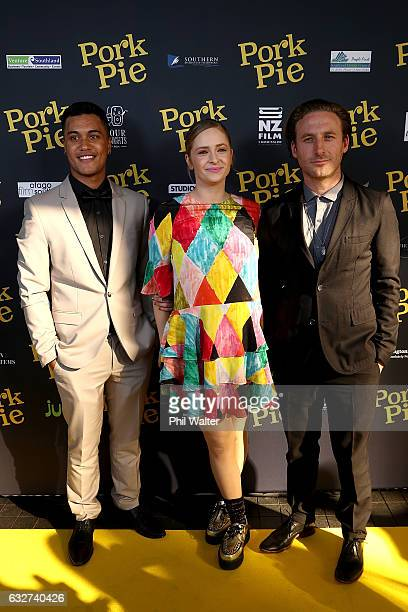 James Rolleston Ashleigh Cummings and Dean O'Gorman arrive ahead of the Pork Pie World Premiere at Auckland Civic Theatre on January 26 2017 in...