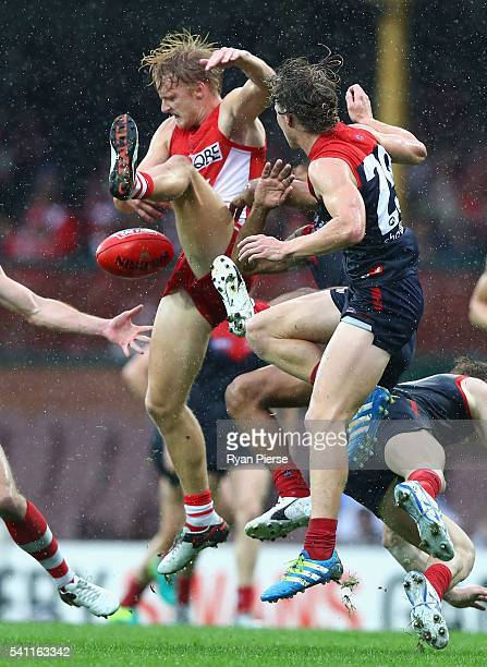 James Rose of the Swans contests the ball during the round 13 AFL match between the Sydney Swans and the Melbourne Demons at Sydney Cricket Ground on...