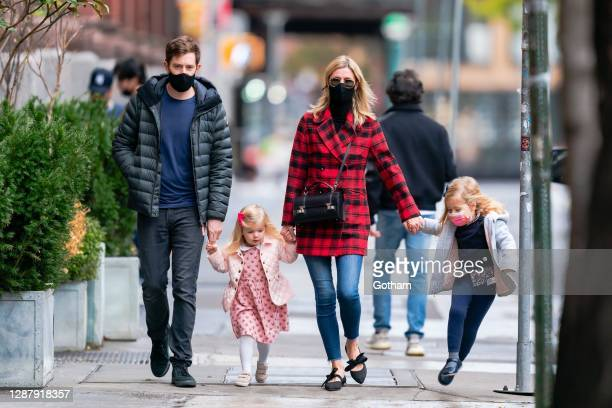 James Rothschild and Nicky Hilton with their daughters Teddy Rothschild and Lily-Grace Rothschild in SoHo on November 26, 2020 in New York City.
