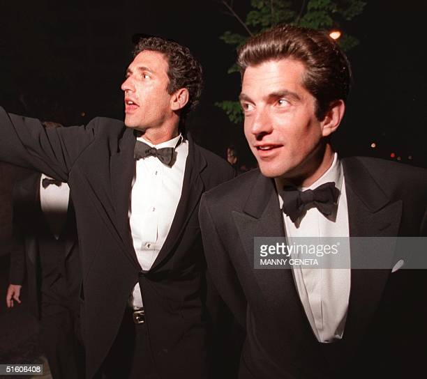 James Rubin spokesman of the US State Department and John F Kennedy Jr publisher of George magazine leave the White House Correspondents' Dinner in...