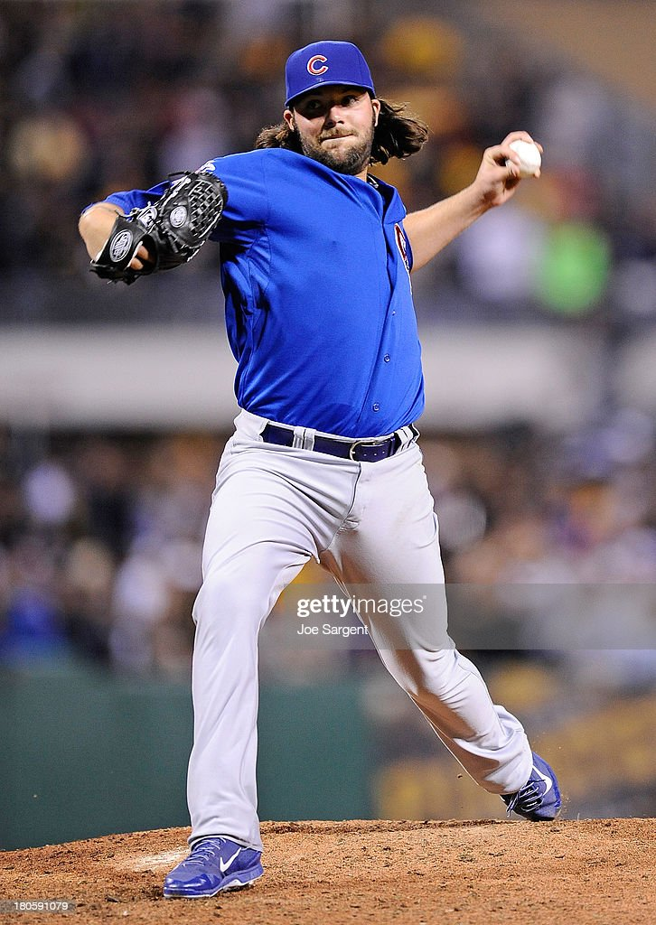 James Russell #40 of the Chicago Cubs pitches during the seventh inning against the Pittsburgh Pirates on September 14, 2013 at PNC Park in Pittsburgh, Pennsylvania.