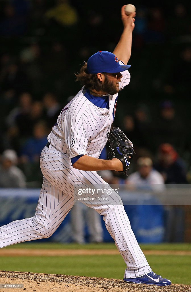 James Russell #40 of the Chicago Cubs pitches in the 9th inning against the New York Mets at Wrigley Field on May 12, 2015 in Chicago, Illinois. The Cubs defeated the Mets 6-1.