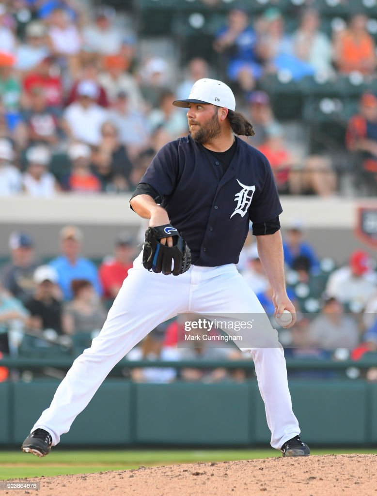 James Russell #89 of the Detroit Tigers pitches during the Spring Training game against the Toronto Blue Jays at Publix Field at Joker Marchant Stadium on February 24, 2018 in Lakeland, Florida. The Tigers defeated the Blue Jays 5-4.