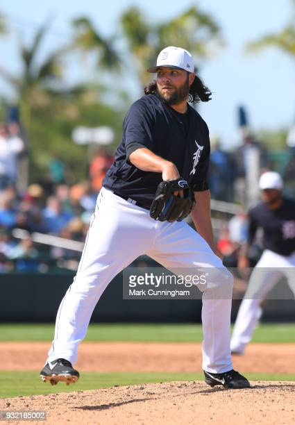 James Russell of the Detroit Tigers pitches during the Spring Training game against the Washington Nationals at Publix Field at Joker Marchant...