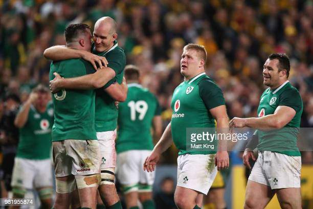 James Ryan and Devin Toner of Ireland celebrate victory at the end of the Third International Test match between the Australian Wallabies and Ireland...