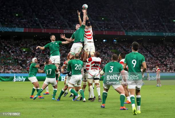 James Ryan of Ireland and Luke Thompson of Japan compete for a lineout during the Rugby World Cup 2019 Group A game between Japan and Ireland at...