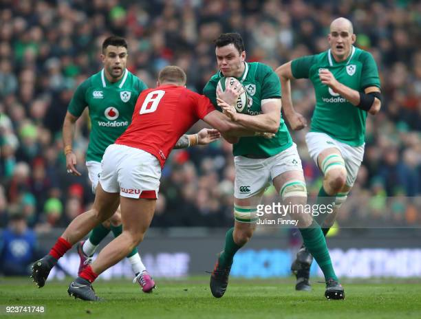 James Ryan of Ireland is tackled by CJ Stander of Wales during the NatWest Six Nations match between Ireland and Wales at Aviva Stadium on February...
