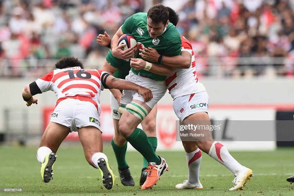 James Ryan of Ireland is tackled during the international rugby friendly match between Japan and Ireland at Ajinomoto Stadium on June 24, 2017 in Tokyo, Japan.