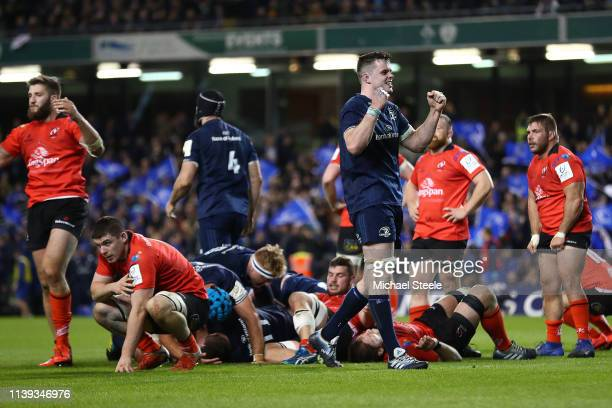 James Ryan of Leinster celebrates his side's 2118 victory at the final whistle during the Heineken Champions Cup QuarterFinal match between Leinster...