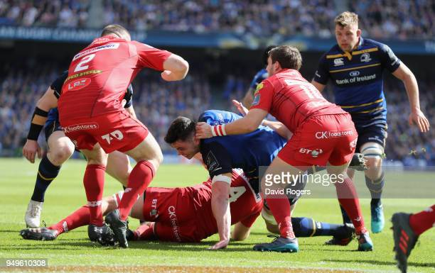 James Ryan of Leinster dives over for the first try during the European Rugby Champions Cup SemiFinal match between Leinster Rugby and Scarlets at...