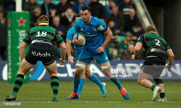 James Ryan of Leinster runs with the ball during the Heineken Champions Cup Round 3 match between Northampton Saints and Leinster Rugby at Franklin's...