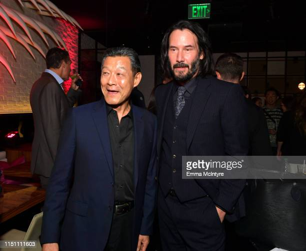 James Saito and Keanu Reeves attend the afterparty for the world premiere of Netflix's 'Always Be My Maybe' at STK on May 22 2019 in Westwood...