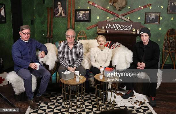 James SchamusTracy LettsSarah Gadon and Logan Lerman from the film 'Indignation' attend The Hollywood Reporter 2016 Sundance Studio At Rock Reilly's...