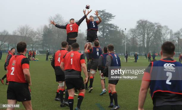 James Scott and Sam Lewis compete for a lineout ball during England U20 Media Access at Bisham Abbey on January 9 2018 in Marlow England