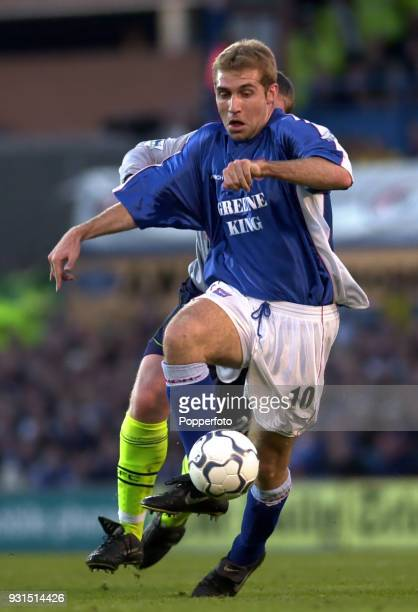 James Scowcroft of Ipswich Town in action during the FA Carling Premiership match between Ipswich Town and Manchester City at Portman Road in Ipswich...