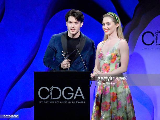 James Scully and Kathryn Newton speak onstage at the 22nd CDGA at The Beverly Hilton Hotel on January 28 2020 in Beverly Hills California