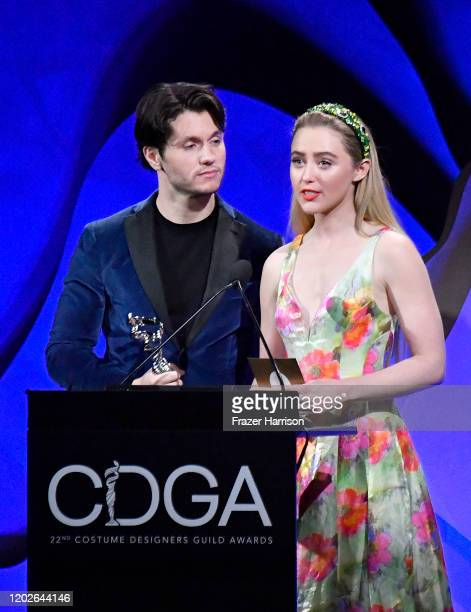 James Scully and Kathryn Newton speak onstage during the 22nd CDGA at The Beverly Hilton Hotel on January 28 2020 in Beverly Hills California