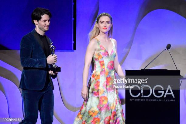 James Scully and Kathryn Newton walk onstage during the 22nd CDGA at The Beverly Hilton Hotel on January 28 2020 in Beverly Hills California