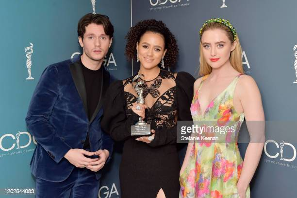 James Scully Nathalie Emmanuel and Kathryn Newton attend the 22nd CDGA at The Beverly Hilton Hotel on January 28 2020 in Beverly Hills California