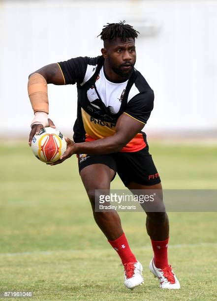 James Segeyaro looks to pass during a PNG Kumuls Rugby League World Cup training session on November 9 2017 in Port Moresby Papua New Guinea