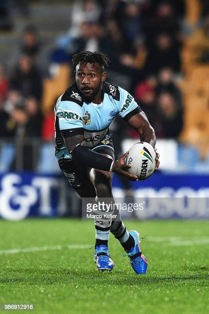James Segeyaro looks to pass during the round 16 NRL match between the New Zealand Warriors and the Cronulla Sharks at Mt Smart Stadium on June 29...