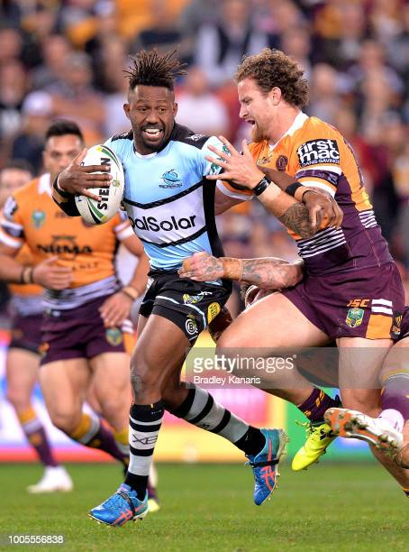 James Segeyaro of the Sharks attempts to break through the defence during the round 20 NRL match between the Brisbane Broncos and the Cronulla Sharks...