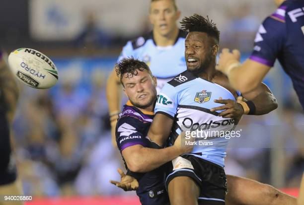 James Segeyaro of the Sharks gets a pass away during the round four NRL match between the Cronulla Sharks and the Melbourne Storm at Southern Cross...