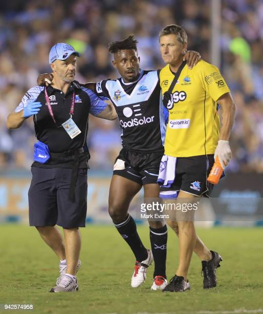 James Segeyaro of the Sharks goes off the field injured during the round five NRL match between the Cronulla Sharks and the Sydney Roosters at...