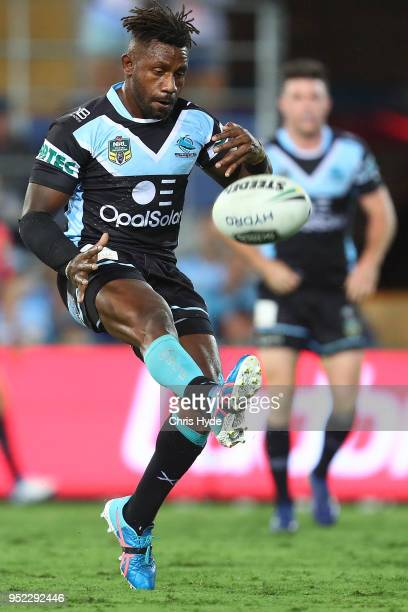 James Segeyaro of the Sharks kicks during the round eight NRL match between the Gold Coast Titans and Cronulla Sharks at Cbus Super Stadium on April...