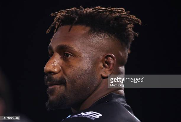 James Segeyaro of the Sharks looks on during the round 18 NRL match between the Panthers and the Sharks at Panthers Stadium on July 13 2018 in...