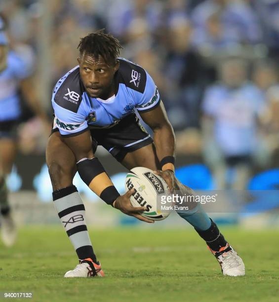 James Segeyaro of the Sharks looks to pass the ball during the round four NRL match between the Cronulla Sharks and the Melbourne Storm at Southern...