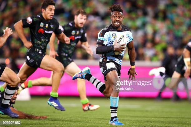 James Segeyaro of the Sharks makes a break during the round 10 NRL match between the Canberra Raiders and the Cronulla Sharks at GIO Stadium on May...