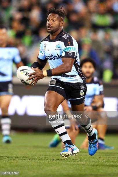 James Segeyaro of the Sharks runs the ball during the round 10 NRL match between the Canberra Raiders and the Cronulla Sharks at GIO Stadium on May...