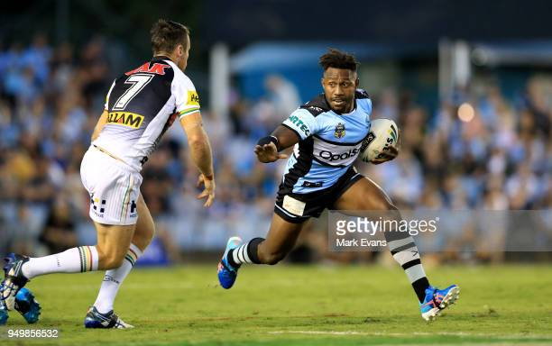 James Segeyaro of the Sharks runs the ball during the round seven NRL match between the Cronulla Sharks and the Penrith Panthers at Southern Cross...