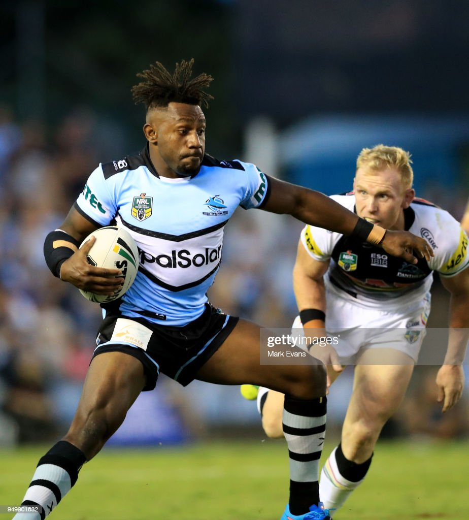 James Segeyaro of the Sharks runs the ball during the round seven NRL match between the Cronulla Sharks and the Penrith Panthers at Southern Cross Group Stadium on April 22, 2018 in Sydney, Australia.