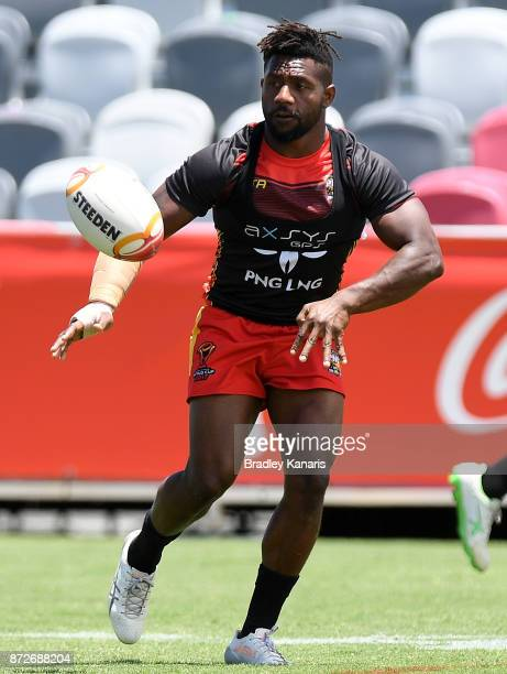 James Segeyaro passes the ball during a PNG Kumuls Rugby League World Cup captain's run on November 11 2017 in Port Moresby Papua New Guinea