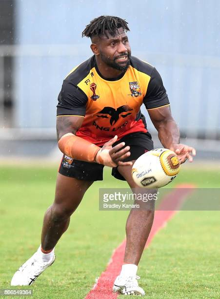 James Segeyaro passes the ball during a PNG Rugby League World Cup training session at the Oil Search National Football Stadium on October 26 2017 in...